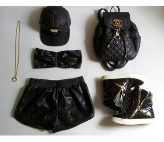 shorts black leather wet look bag chanel quilted backpack shoes quilted bag leather shorts