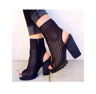 shoes black mesh hole open toes peep toe chunky boots high heels high top black peeptoe boots