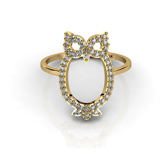 New owl ring with micro pave white diamonds by chicjoaillerie