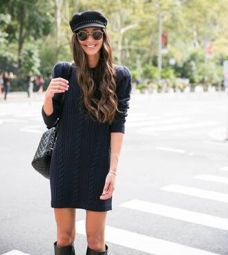 dress hat tumblr blue dress sweater dress knit knitted dress fisherman cap bag black bag sunglasses