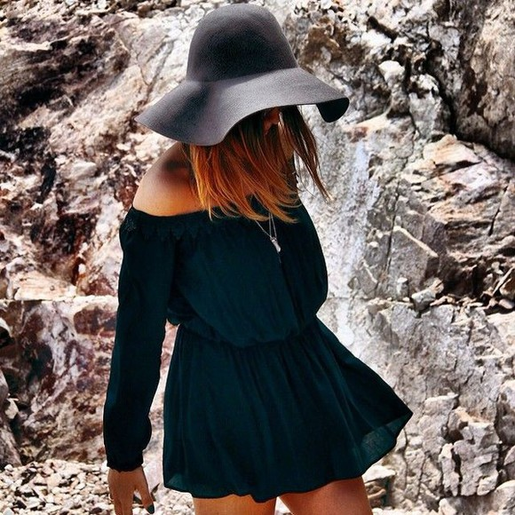 floppy hat black floppy hat black dresses off shoulder off shoulder dress black off the shoulder black dress little black dress