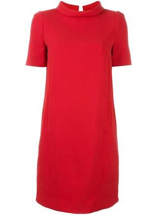 dress shift dress women spandex wool red