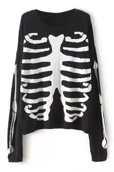 blouse black blouse clothes skull blouse skeleton
