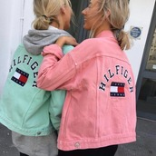 jacket,tommy hilfiger,oversized,oversized jacket,36683,green jacket,pink jacket,tommy hilfiger jacket,summer,summer outfits