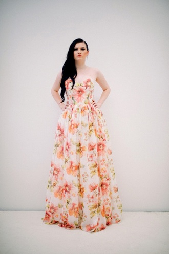 dress floral pink coral peach flowers strapless sweetheart long gown ball gown dress ivory white wedding purple vines ruffle sweetheart neckline sweetheart neckline dress maid of honor