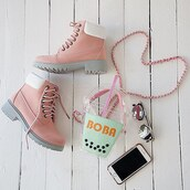 shoes,pink,boba,purse,boots,outdoors,hiking,timberlands,blush,gojane