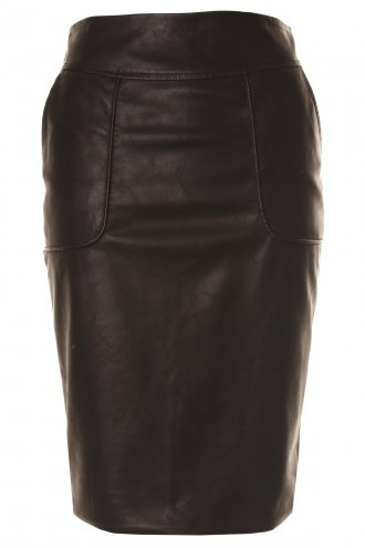 Leather Look Zipped Pencil Skirt - from Lavish Alice UK