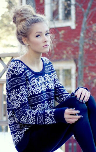 sweater winter outfits shirt shoes clothes cozy cute warm fall outfits christmas sweater christmas blue patterned sweater jumper girly fall sweater fall outfits scarf blue sweater