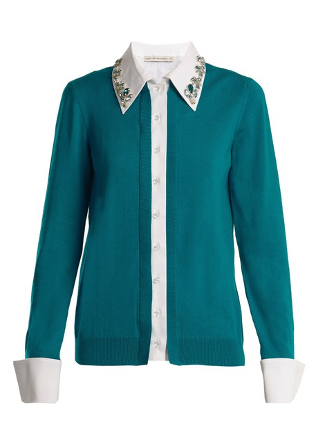 MARY KATRANTZOU cardigan cardigan embellished wool white green sweater