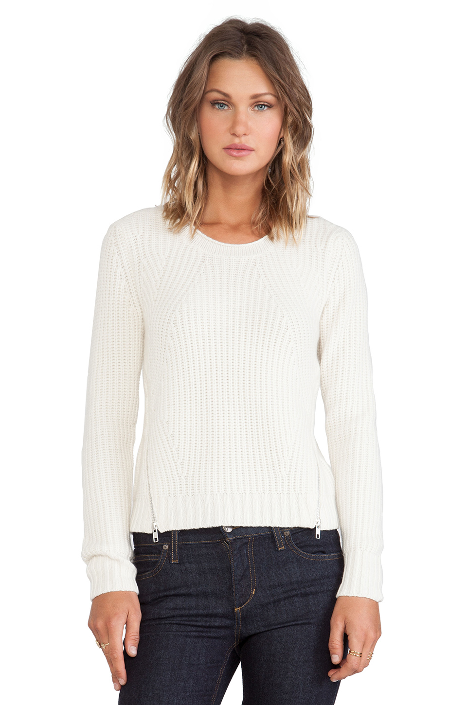 Autumn cashmere shaker stitch sweater in winter white from revolveclothing.com