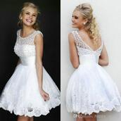 sexy dress,cap sleeves dresses,scoop dresses,white lace appliques dresses,backless dress,mini dress,short dress,prom dress,ball gown dress,evening dress,starry night