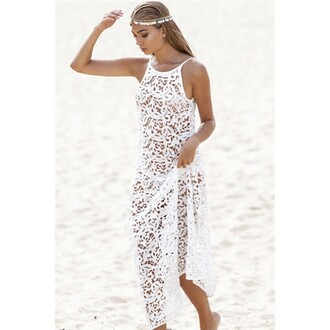 dress white dress summer dress beach dress beach cover up crochet dress lace dress