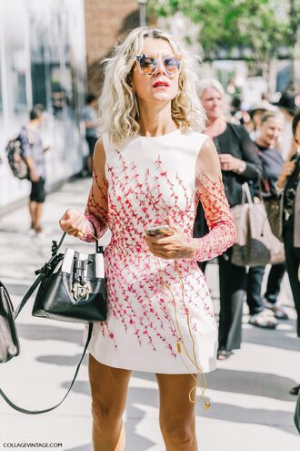 dress tumblr mini dress white dress long sleeves long sleeve dress floral dress bag bucket bag black bag streetstyle sunglasses