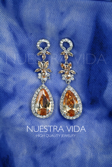 jewels earrings jewelry earrings luxury crystals earrings zirconia earrings peach colour