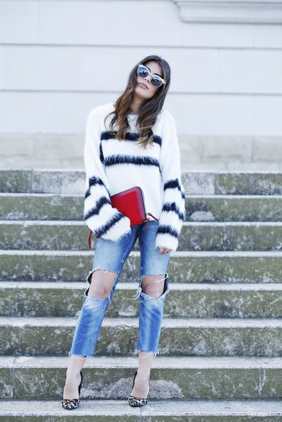 dulceida blogger sunglasses striped sweater fuzzy sweater ripped jeans red bag leopard print high heels cropped pants sweater jeans bag shoes