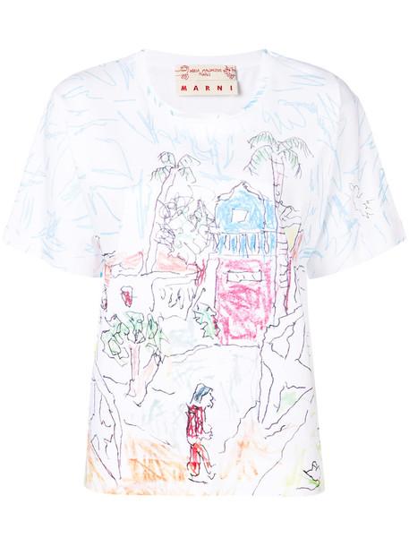 MARNI t-shirt shirt t-shirt women white cotton print top