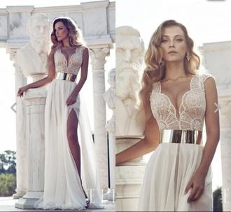 dress long prom dress ivory dress lace dress