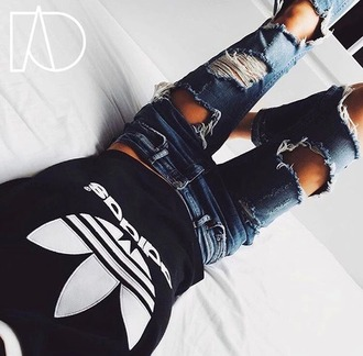 jeans t-shirt adidas adidas shirt black and white ripped jeans blue tumblr adida blue jeans tight cute shirt fashion casual adidas originals black