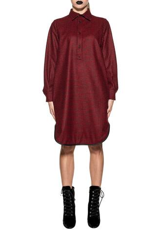 dress black wool red