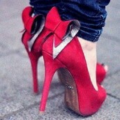 shoes,high heels,red shoes,red bow,pink high heels,bow high heels,redheels