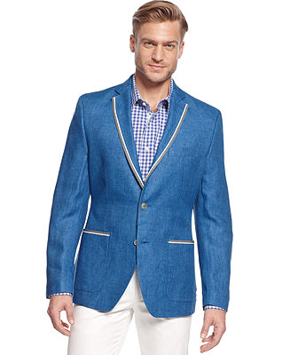 Tallia Orange Blue Solid Linen Slim-Fit Blazer - Blazers & Sport Coats - Men - Macy's