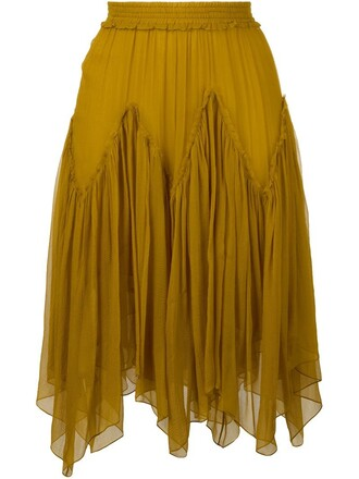 skirt women silk yellow orange