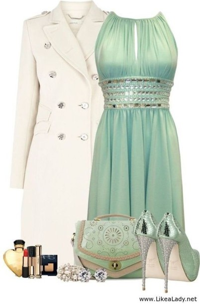dress, shoes, jacket, aqua, mint green