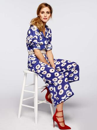 pants floral top blouse olivia palermo pumps two-piece
