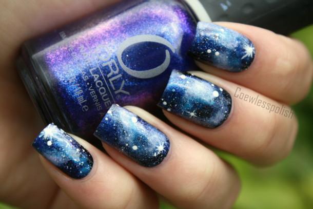 nail polish, galaxy nails