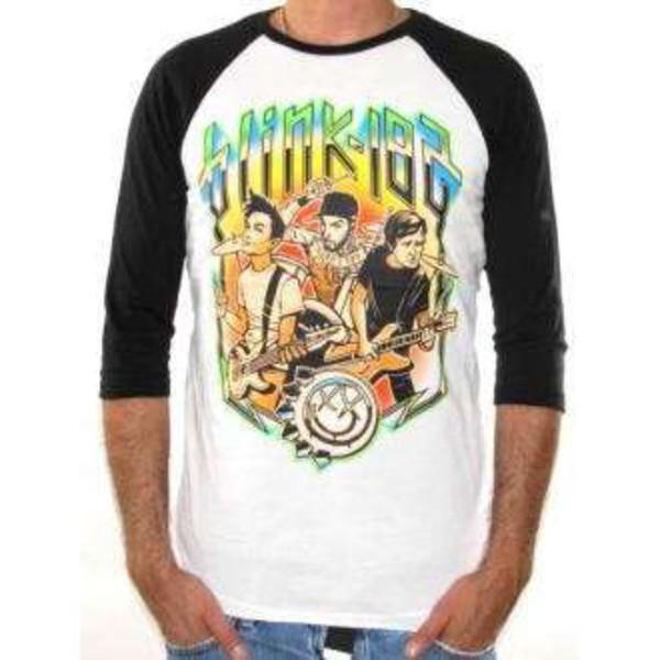 t-shirt baseball shirt music t-shirt top cartoon t-shirt merch blink blink 182 blink-182 baseball tee band t-shirt band t-shirt merchandise band merch band merch mens t-shirt