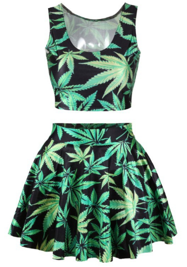 Leaf skirt and top crop 2 pieces set