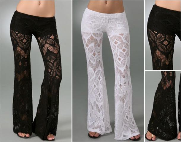 pants, white, lace, fashion, crochet, flare, summer pants ...