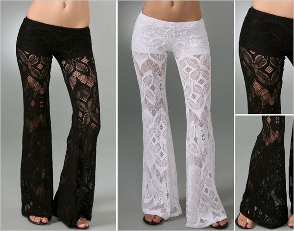 pants white lace fashion crochet flare summer pants cover up beach pants