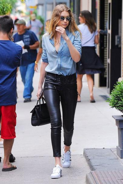 de1e23a8078 pants black pants leather pants sneakers white sneakers shirt blue shirt  denim shirt bag black bag