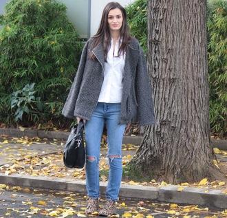 leopard print blogger peexo grey coat