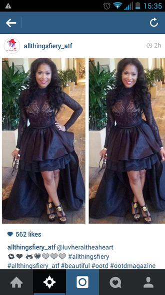 high low train lace top dress