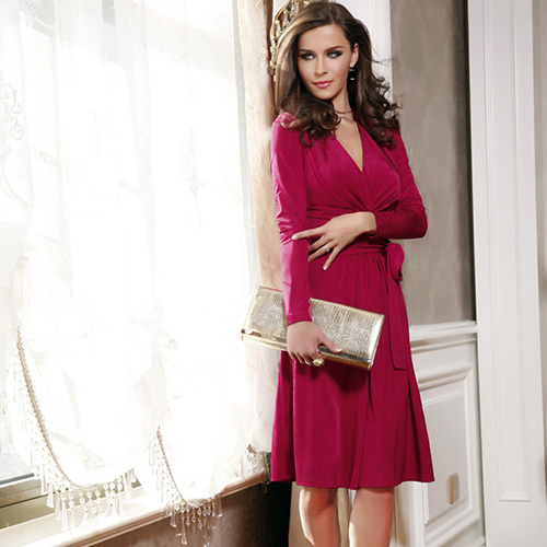 Neck solid color long sleeve dress