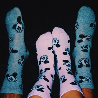 socks mickey mouse disney minnie mouse pink grey couple cute love cool fashion