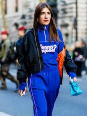 jacket,tumblr,black jacket,bomber jacket,black bomber jacket,sweatshirt,pants,blue pants,top,blue top,joggers,joggers pants,sweatpants,sportswear,sporty,bag,blue bag,streetwear,streetstyle,Gender Neutral