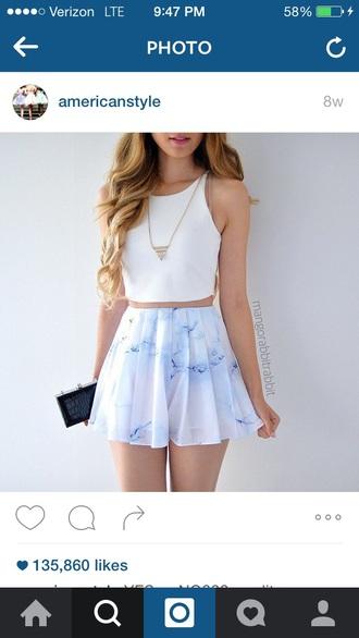 skirt white blue crop tops top white top circle skirt skater skirt flirty white skirt