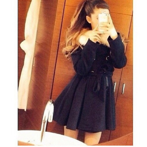 jacket cover black coton sweet jacket winter jacket ariana grande cute jacket winter coat phone cover dress coat black coat girly coat blue dress coat black dress coat