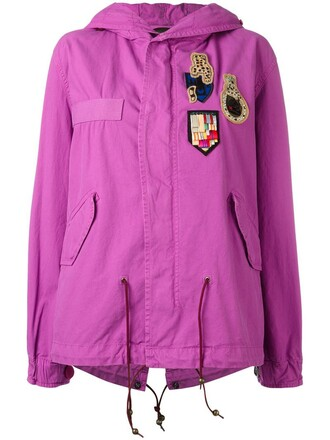 parka women cotton purple pink coat