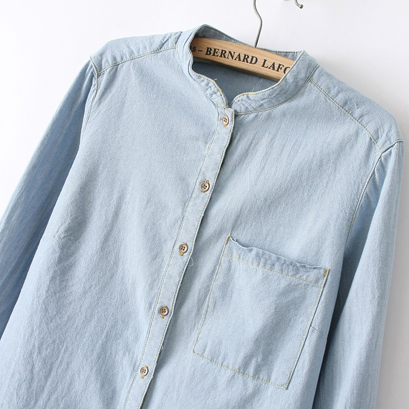 Blue Stand Collar Long Sleeve Pocket Denim Blouse - Sheinside.com