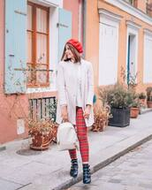 pants,leggings,checkered,ankle boots,black boots,backpack,blazer,sweater,knitted sweater,beret