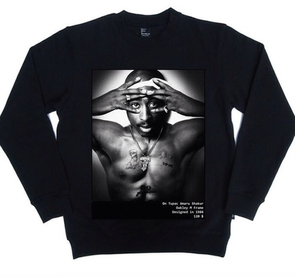 streetstyle sweater tupac tupac sweatshirt blackfashion hiphop