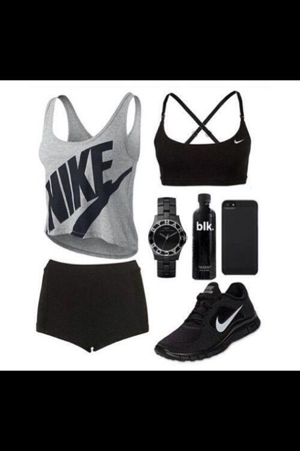 shoes black workout nike running shoes shirt underwear blouse tank top shorts hair accessory