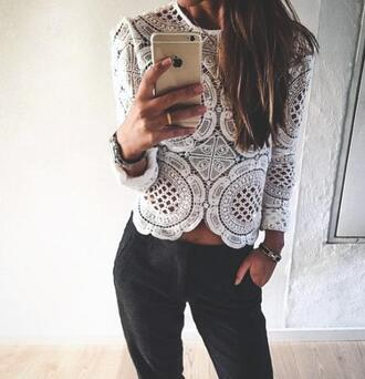 blouse top lace lace top white classy long sleeves transparent