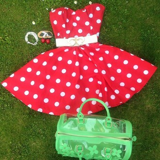 dress red polka dot dress retro pin up styleiconscloset prom dress