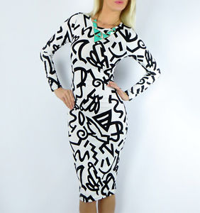 Abstract Black White Sexy Long Sleeve Stretch Sexy Bodycon MIDI Pencil Dress S | eBay