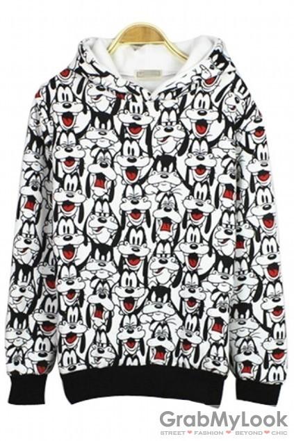 Goofy dog monogram hoodie hooded long sleeves sweatshirt sweater